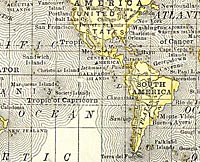 detail of world map from 1878